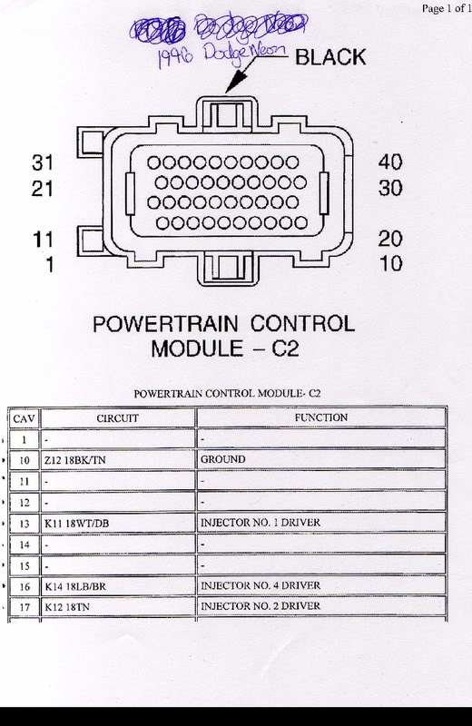 pcm connector diagrams neons org rh forums neons org 1998 dodge neon fuel pump wiring diagram 98 dodge neon radio wiring diagram